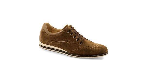 Pánske hnedé šnúrovacie topánky Red Hot