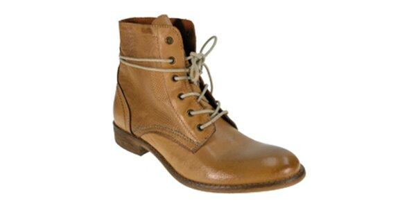 Dámske karamelovo hnedé členkové šnúrovacie topánky Red Hot