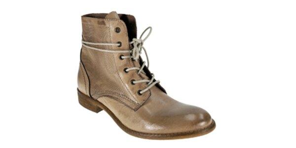 Dámske svetlo hnedé členkové šnúrovacie topánky Red Hot