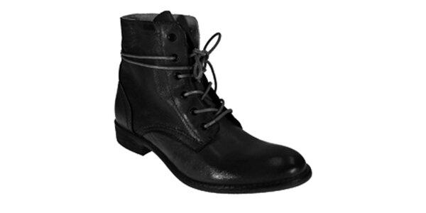 Dámske čierne členkové šnúrovacie topánky Red Hot