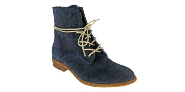 Dámske tmavo modré členkové šnúrovacie topánky Red Hot