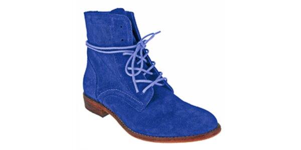 Dámske modré členkové šnúrovacie topánky Red Hot