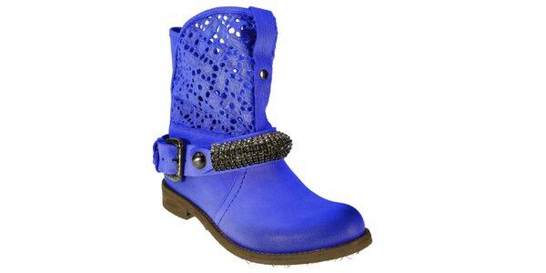 Dámske modré čižmy s ozdobným remienkom Red Hot