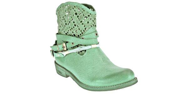 Dámske svetlo zelené topánky z kože Red Hot