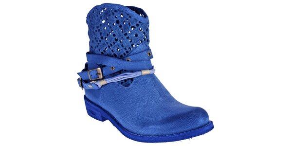 Dámske sýto modré topánky z kože Red Hot
