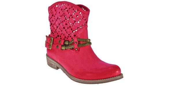 Dámske fuchsiové čižmy s ozdobou Red Hot