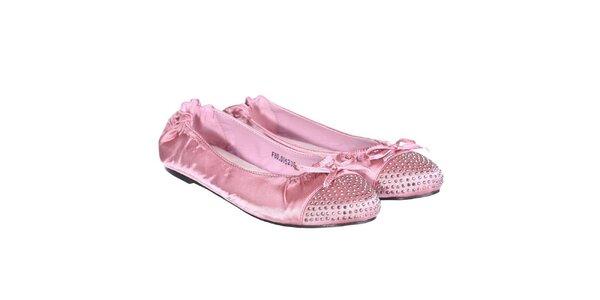 Dámske saténové balerínky v ružovej farbe Miss Roberta