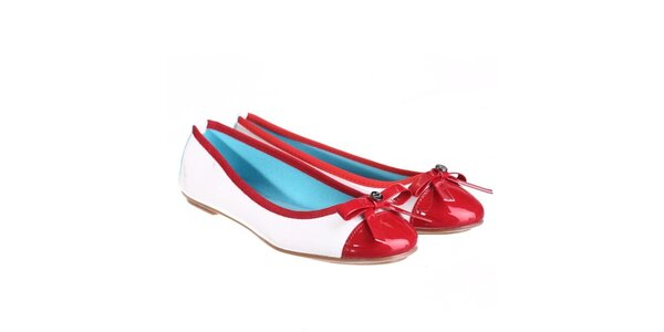 Dámske biele balerínky s červenou lesklou špičkou Miss Roberta