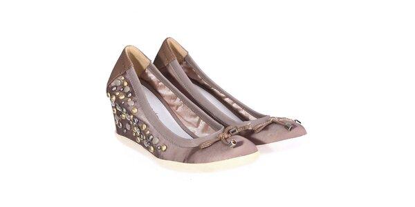 Dámske svetlo hnedé topánky s kamienkami Miss Roberta