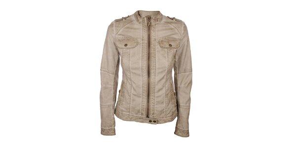 Dámska koženková bunda v béžovej farbe Company&Co