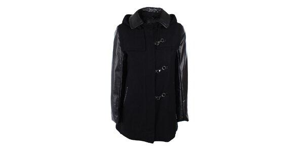Dámsky čierny kabát s kapucňou Company&Co