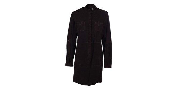 Dámske tmavo hnedé košeľové semišové šaty Company&Co
