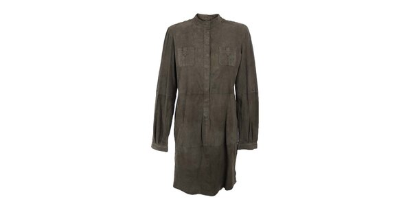 Dámske khaki košeľové semišové šaty Company&Co
