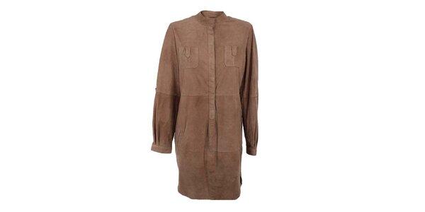 Dámske svetlo hnedé košeľové semišové šaty Company&Co