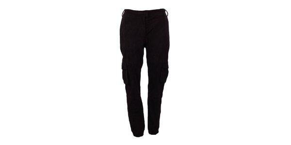 Dámske tmavo hnedé semišové nohavice Company&Co