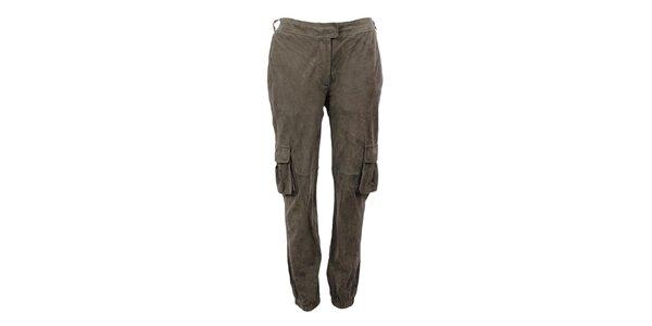 Dámske khaki semišové nohavice Company&Co