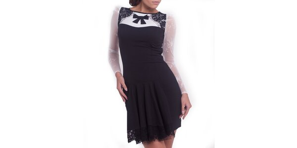 Dámske čierno-biele šaty s mašličkou Arefeva