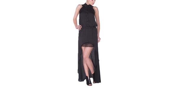 Dámske čierne šaty s dlhou zadnou časťou Arefeva