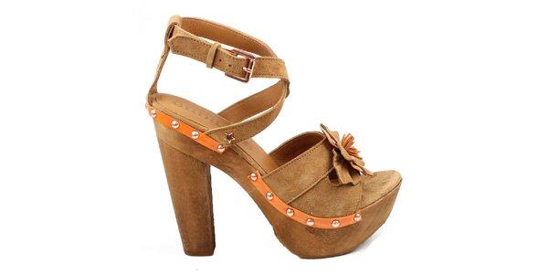 Dámske hnedé črievičky s kvetinkou Cubanas Shoes