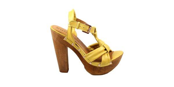 Dámske žlté črievičky s platformou Cubanas Shoes
