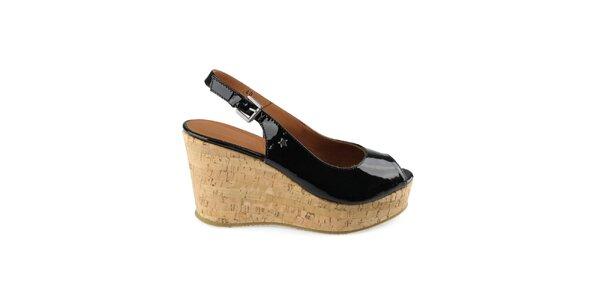 Dámske čierne lakované topánky na kline Cubanas Shoes