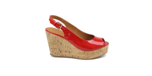 Dámske červené lakované topánky na kline Cubanas Shoes