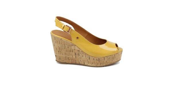 Dámske žlté lakované topánky na kline Cubanas Shoes