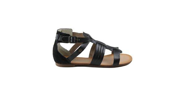 Dámske čierne remienkové topánky z kože Cubanas Shoes