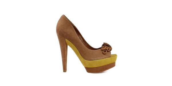 Dámske hnedo-žlté lodičky s otvorenou špičkou Cubanas Shoes