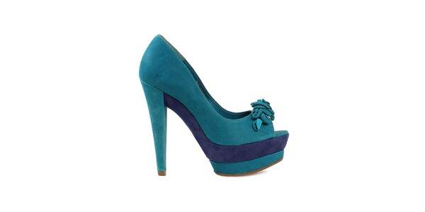 Dámske modré lodičky s otvorenou špičkou Cubanas Shoes