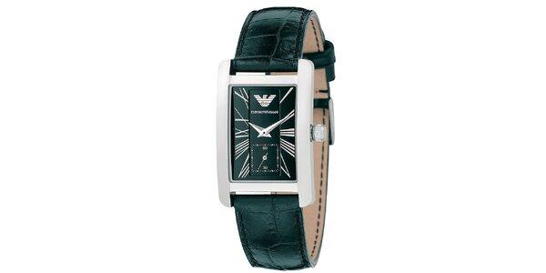 Pánske hranaté hodinky s čiernym remienkom Emporio Armani
