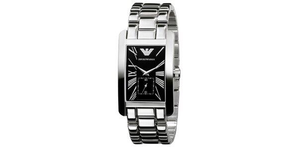 Pánske strieborné hodinky s čiernym ciferníkom Emporio Armani