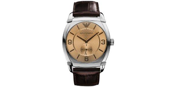 Pánske analógové hodinky s hnedým remienkom Emporio Armani