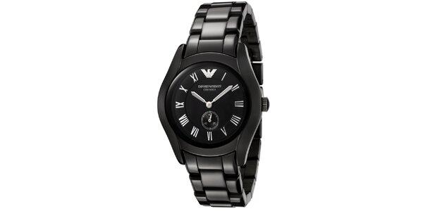 Čierne keramické hodinky Emporio Armani