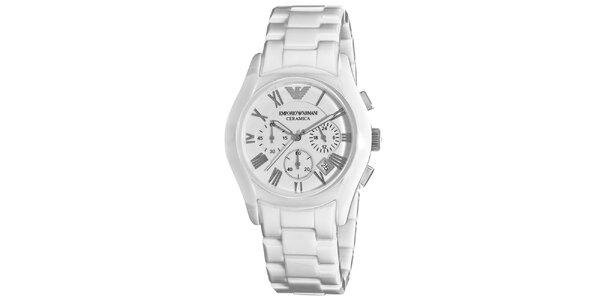 Biele hodinky s chronografom a dátumovkou Emporio Armani