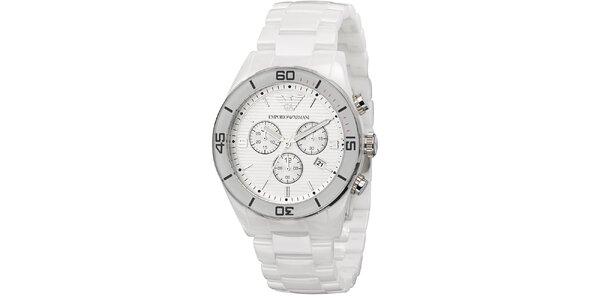 Strieborné hodinky s bielym remienkom Emporio Armani