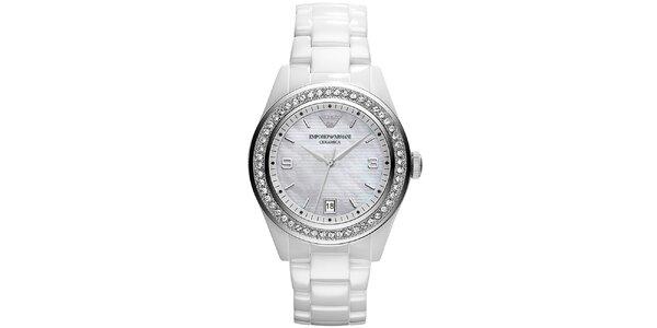 Dámske biele keramické hodinky s kryštálikmi Emporio Armani