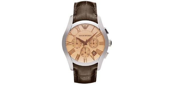 Pánske hodinky s chronografom a hnedým remienkom Emporio Armani