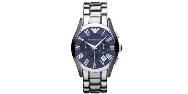 Pánske strieborné hodinky s modrým ciferníkom Emporio Armani