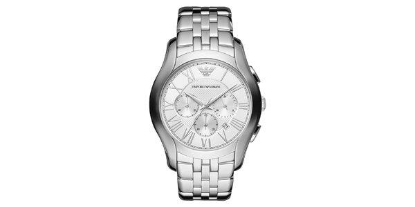 Pánske strieborné hodinky z nerezovej oceľe Emporio Armani