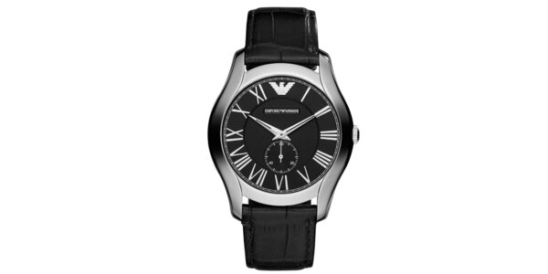 Pánske strieborné hodinky s koženým remienkom a ciferníkom Emporio Armani