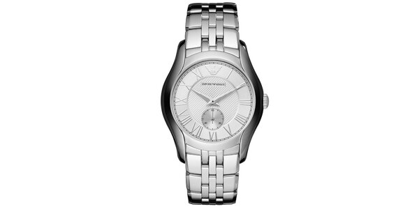 Strieborné hodinky s rímskymi číslicami Emporio Armani
