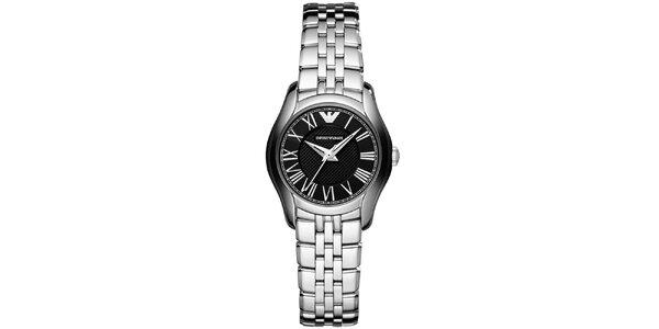 Dámske strieborné hodinky s čiernym ciferníkom Emporio Armani
