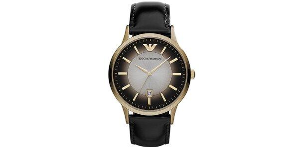 Pánske zlaté hodinky Emporio Armani s tieňovým ciferníkom
