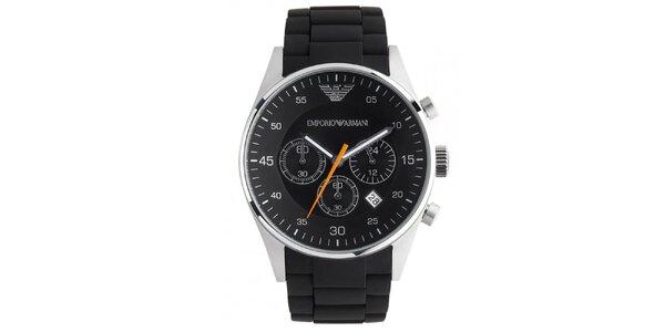 Čierne guľaté hodinky s oranžovou sekundovkou Emporio Armani