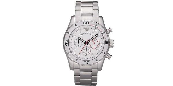 Pánske strieborné oceľové hodinky s červenými detailmi Emporio Armani