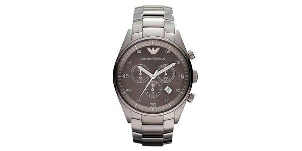 Pánske oceľové hodinky s dátumovkou Emporio Armani