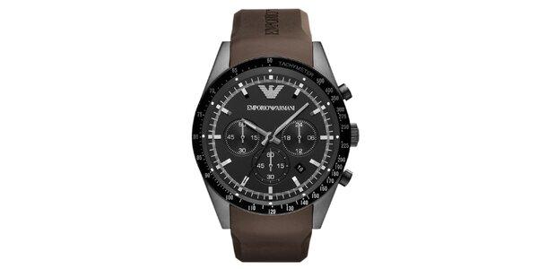 Pánske čierne hodinky s hnedým remienkom Emporio Armani