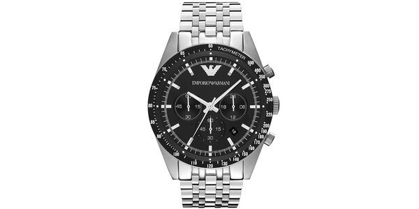 Pánske čierno-strieborné hodinky Emporio Armani