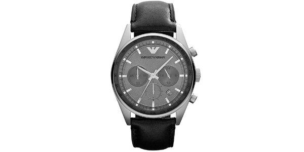 Pánske strieborné hodinky s chronografom Emporio Armani